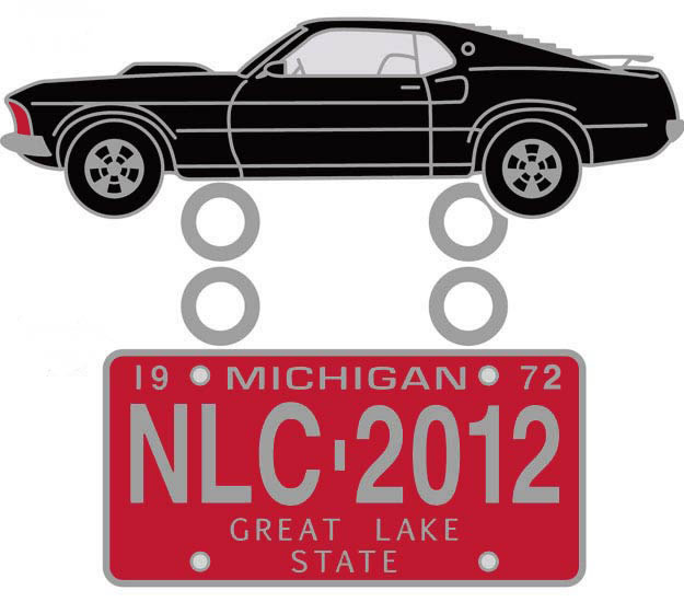 2012 NLC Pin 1969 Ford Mustang with Vintage Red Michigan License Plate