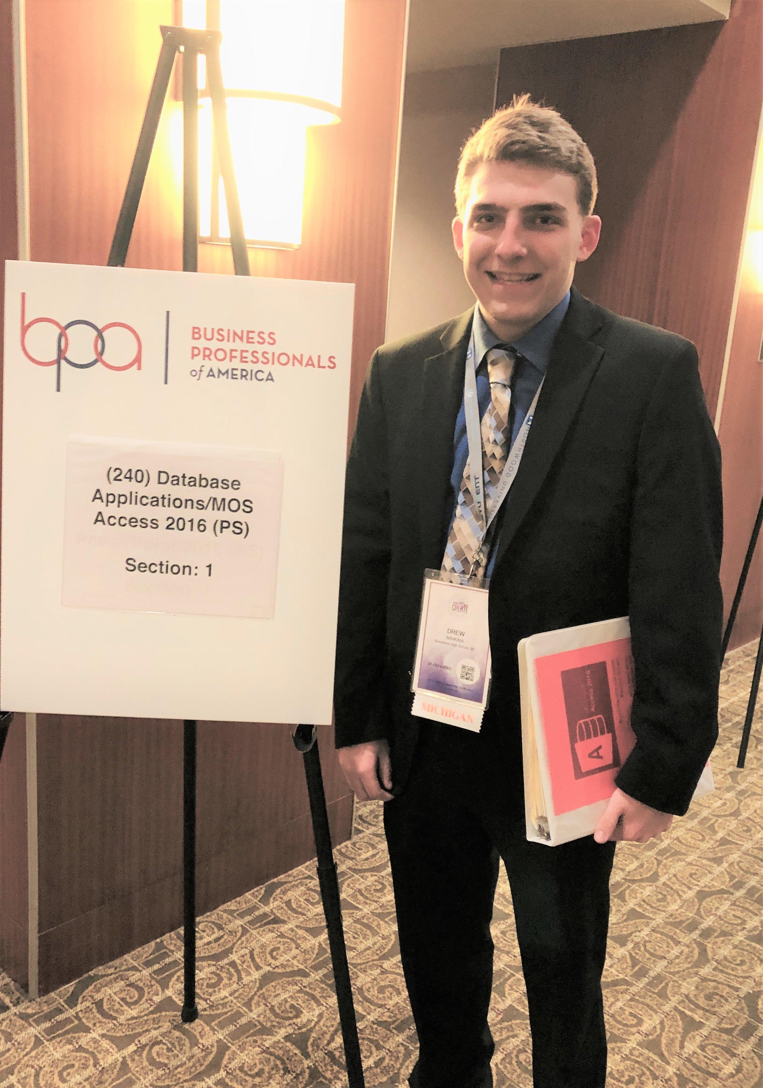 Drew Minkina, Beaverton HS, entering competition room (2019 NLC)