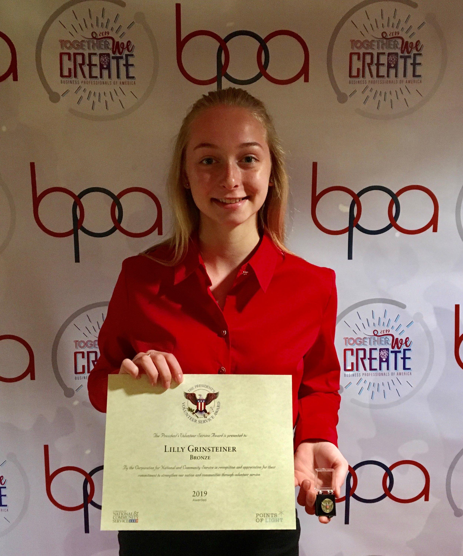 Lilly Grinsteiner, Stephenson HS, President's Volunteer Service Award recipient (2019 NLC)