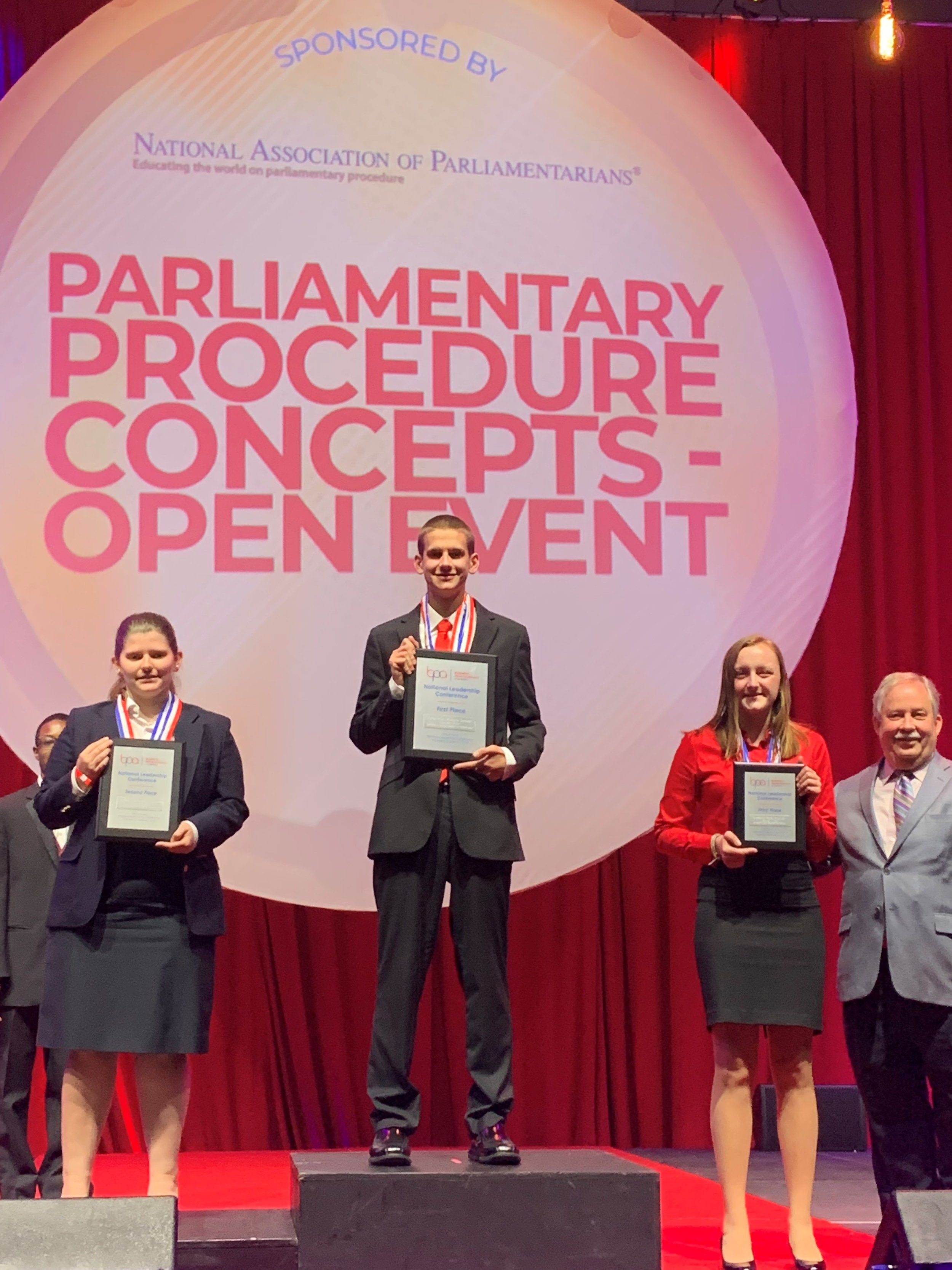 Parliamentary Procedure Concepts (S) - Trent Cappaert (1st place, center), Paige Cappaert (3rd place, left) (2019 NLC)
