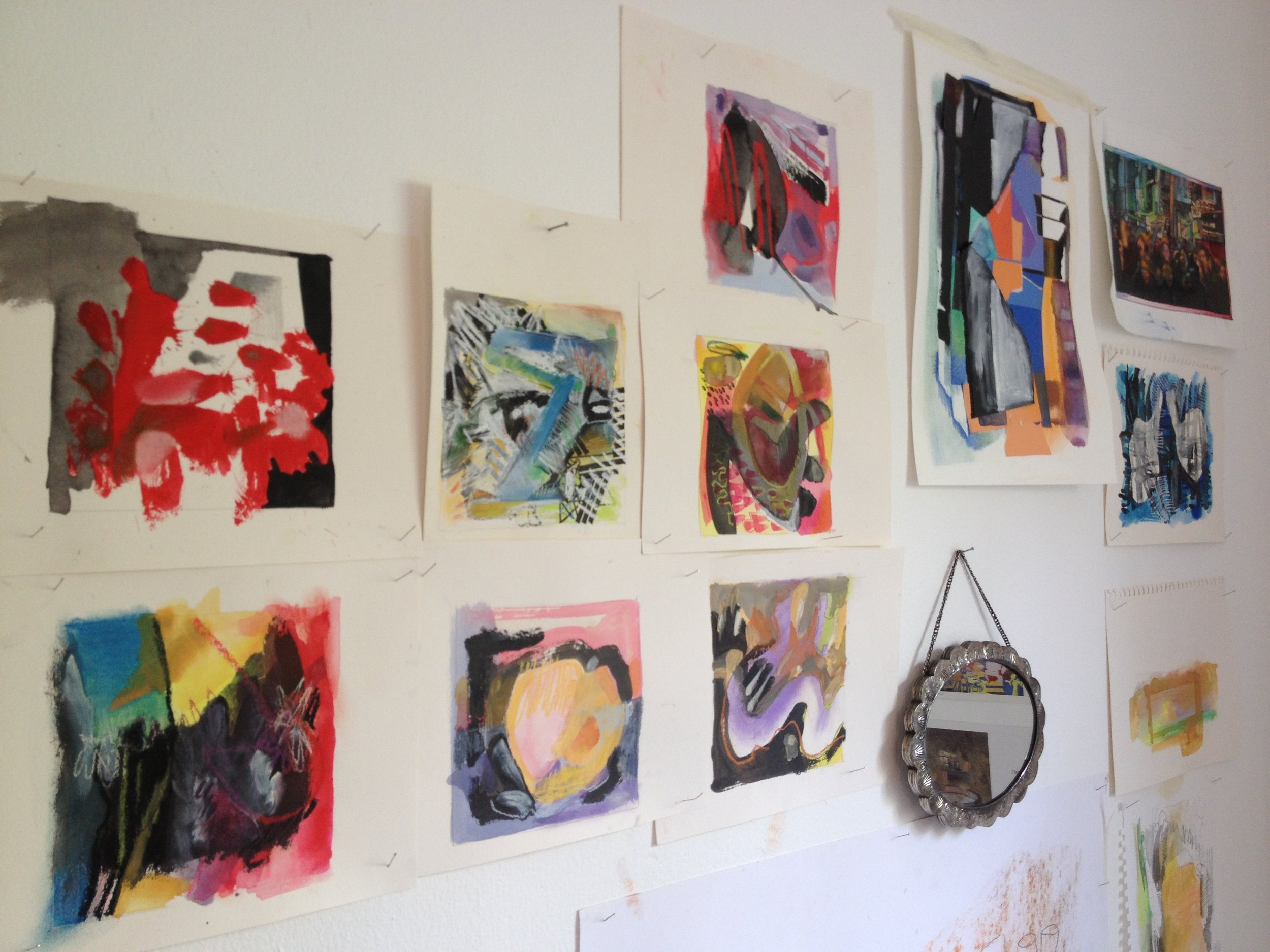 Experiments with inks and collage in Jill Thomas Whately's studio