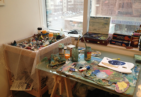 Andrew Field's studio in Abu Dhabi stocked with his art materials of choice