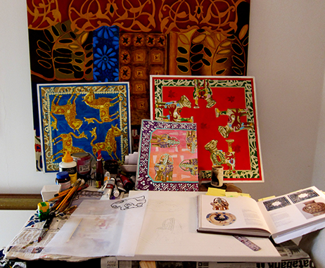 Kate Toledo's sketchbooks, and scarf designs in her Jumeriah studio
