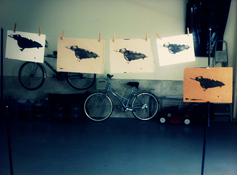 Magpie screenprints drying in the studio