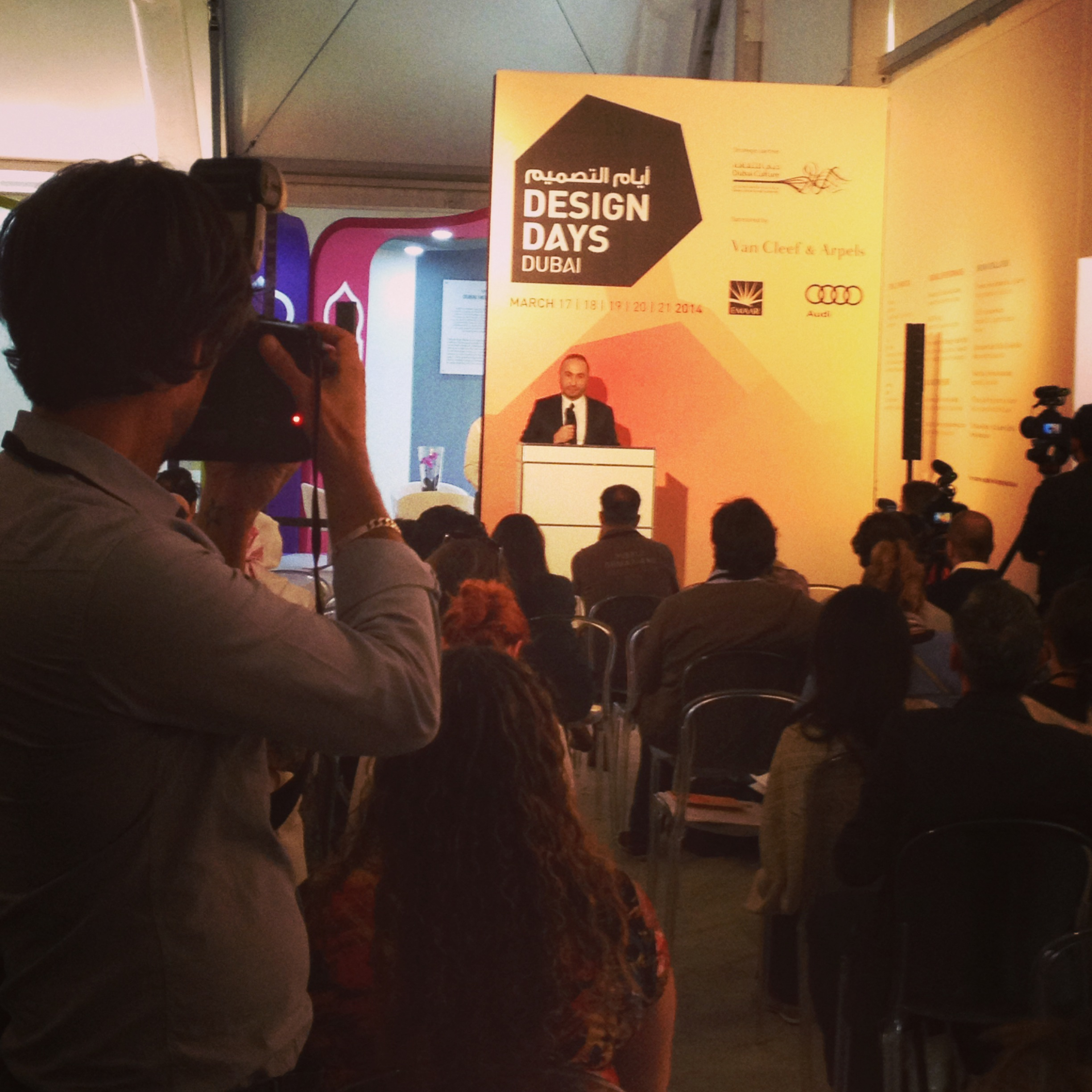 Design Days Dubai Director Cyril Zammit talking at the press opening
