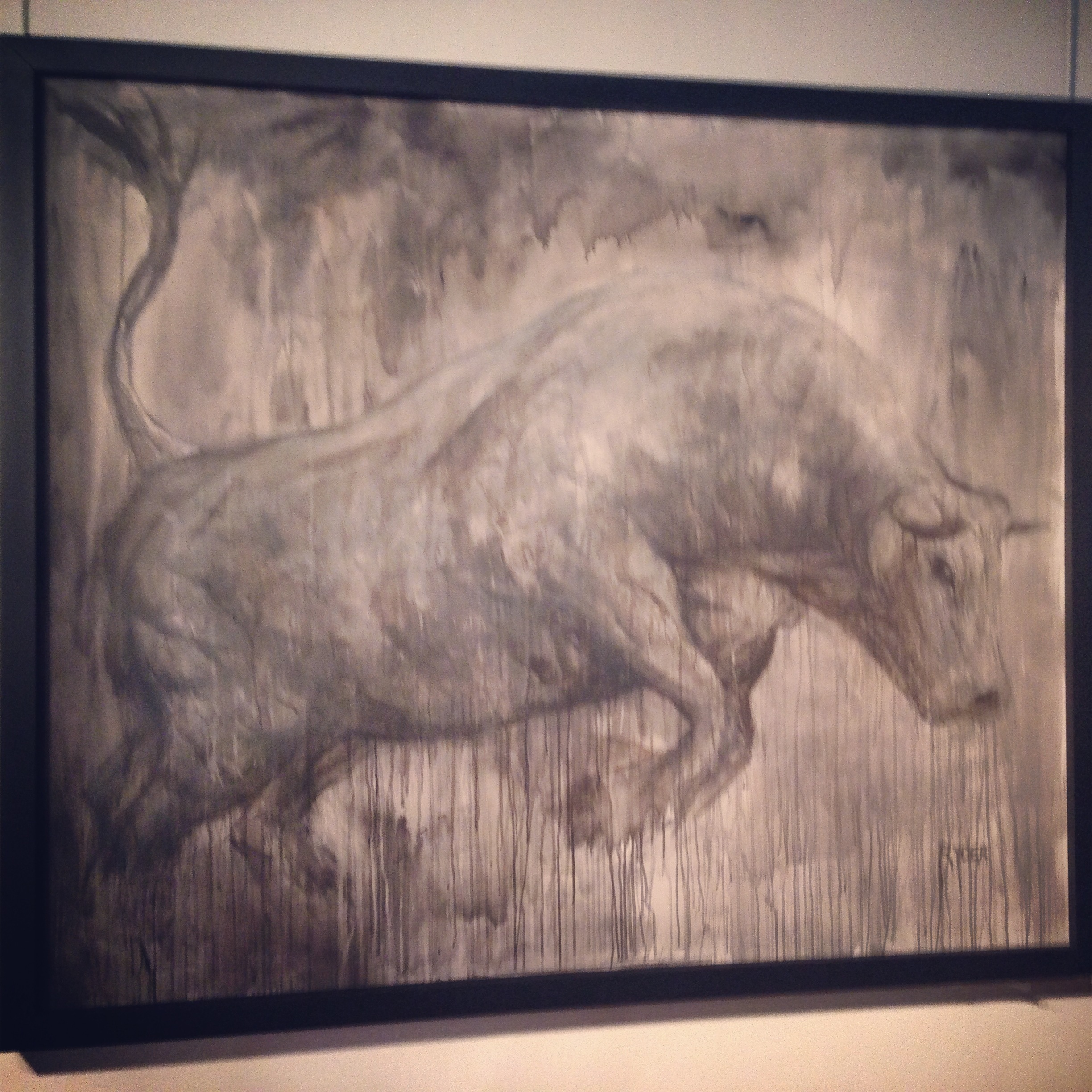 Matthew Ryder's raging bull almost seems to be trying to leap from the walls at Pro Art