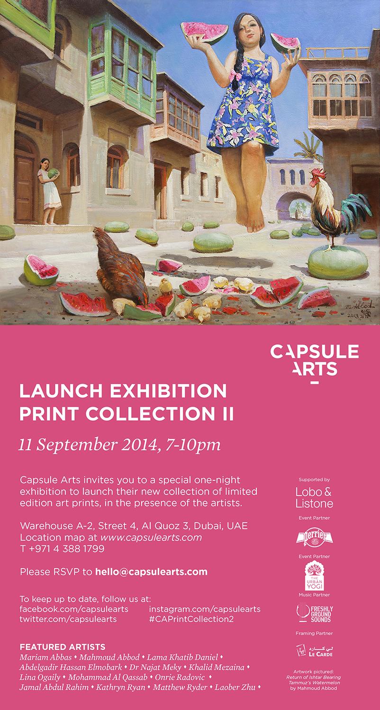 Invitation - Capsule Arts Launch Exhibition, 11 September 2014, 7-10pm