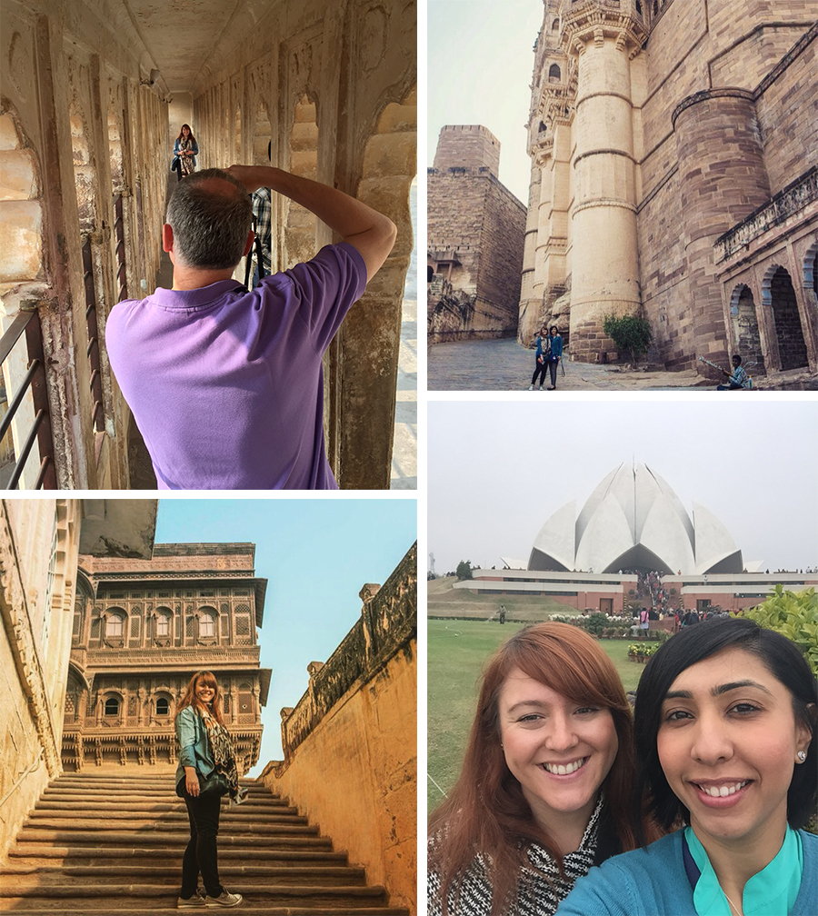 Always some time for a selfie! Clockwise: Rachael being snapped in Mehrangar Fort, Jodhpur; Deepa and Rachael dwarfed by a fort in Jodhpur; Selfie in front of the Lotus Temple; Rachael on the steps of a fort in Jodhpur