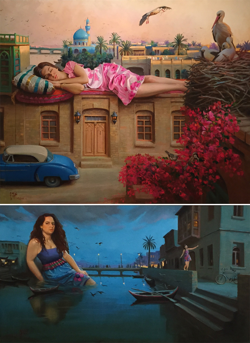 Two striking new canvases by Mahmoud Abbod, who depicts giantesses looming within scenes of historical Baghdad