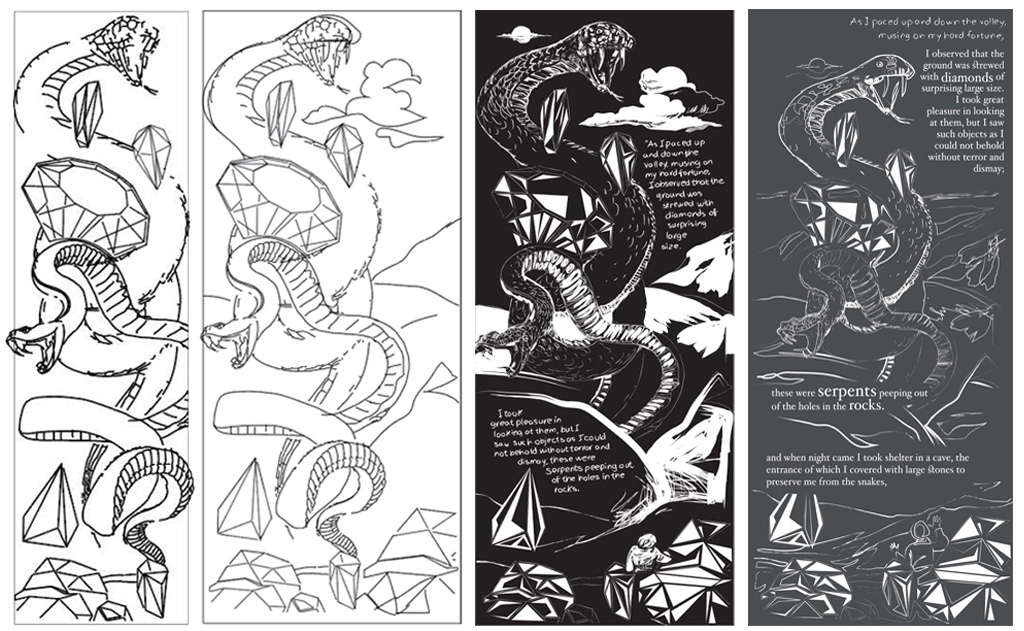 Work in progress: from initial sketches to final outcome.