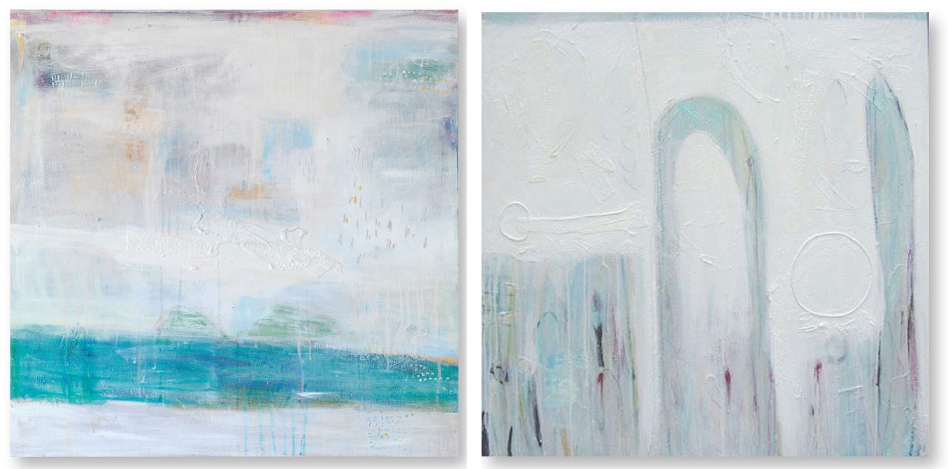 Left: Morning Water. Acrylic oil wax mixed media on canvas. 75 x 75 cm. Right: Sea Spray Series Dubai. Acrylic oil wax mixed media on canvas. 90 x 90 cm. Both paintings courtesy of the artist.