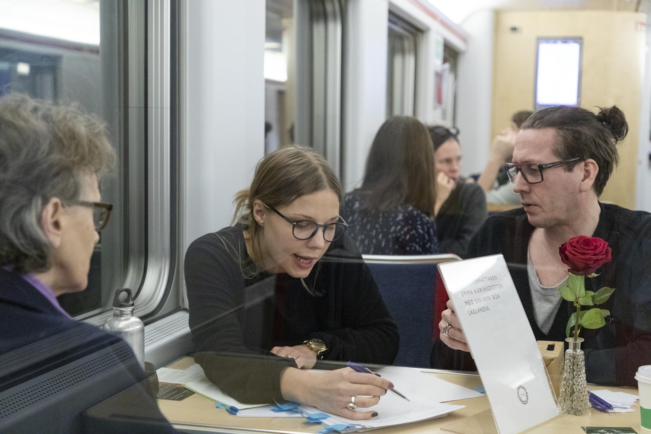 Emma Karinsdotter var en av författarna ombord på Författartåget 2018. Foto: Katarina Myrberg/Författartåget