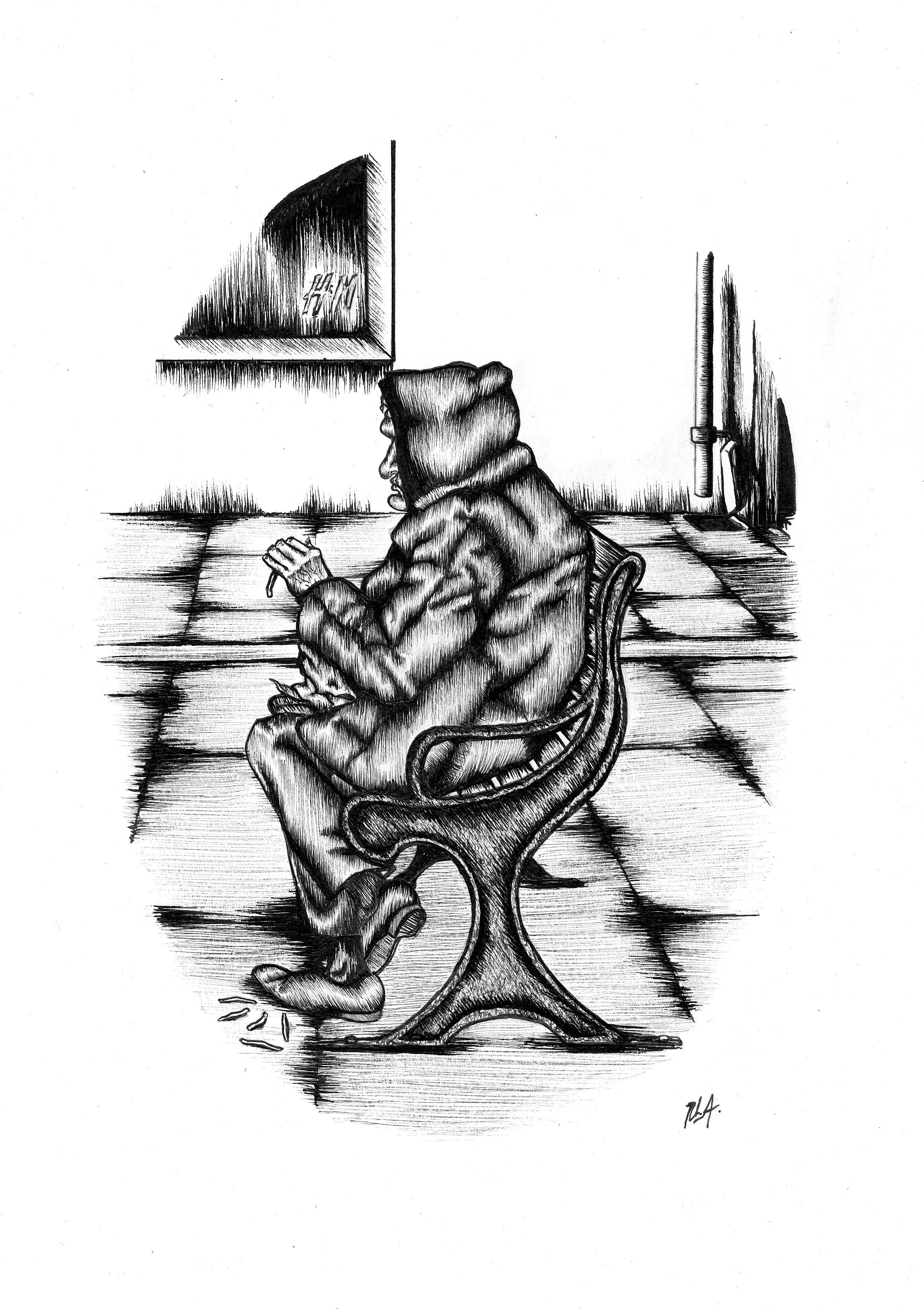 Hên ddynes yn bwyta KFC, Stryd Fawr Bangor / Old lady eating KFC on Bangor High Street  (2014)  Ink