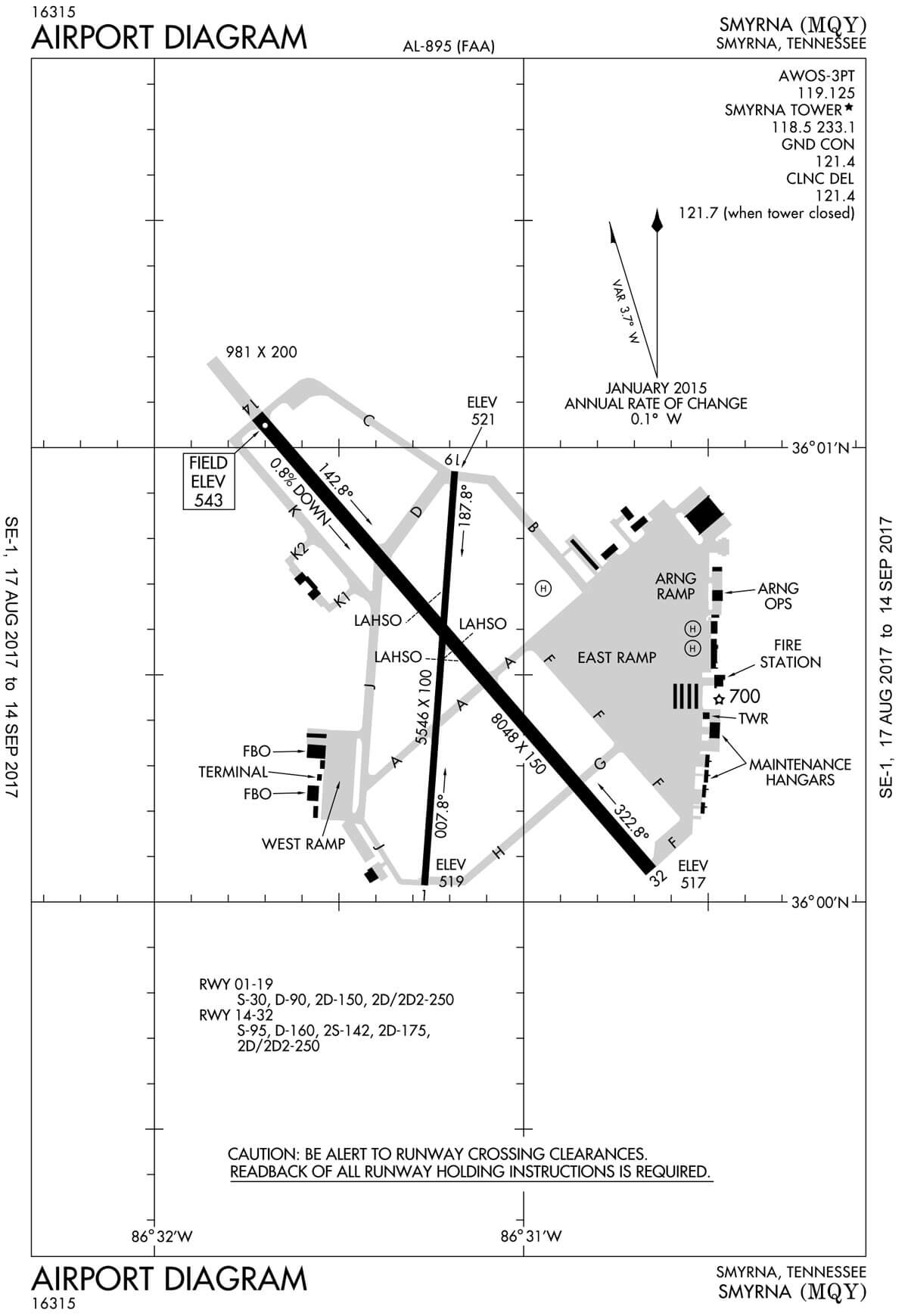 Airport diagram of the Smyrna / Rutherford County Airport Authority