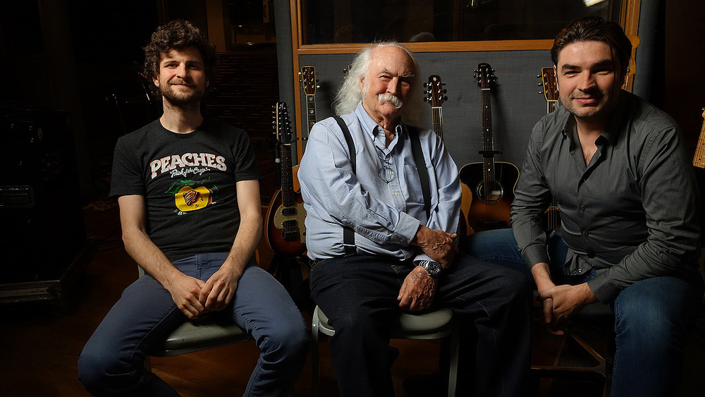 The team behind David Crosby's record. From left to right, Michael League, David Crosby and Fab Dupont