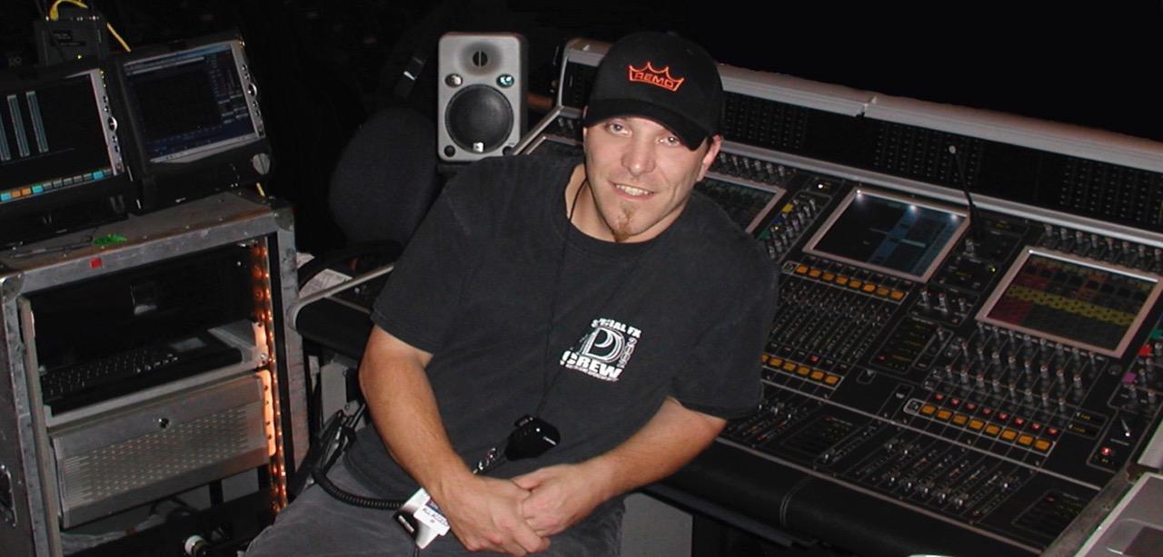 Mixing FOH for Justin Timberlake, 2003.