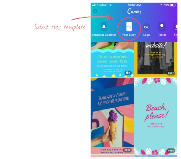 Create Instagram stories with Canva