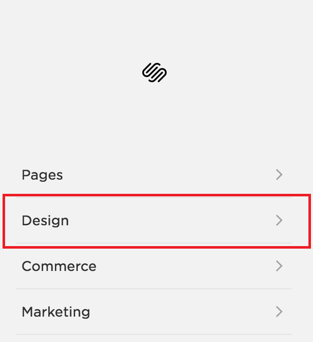 Squarespace Design menu