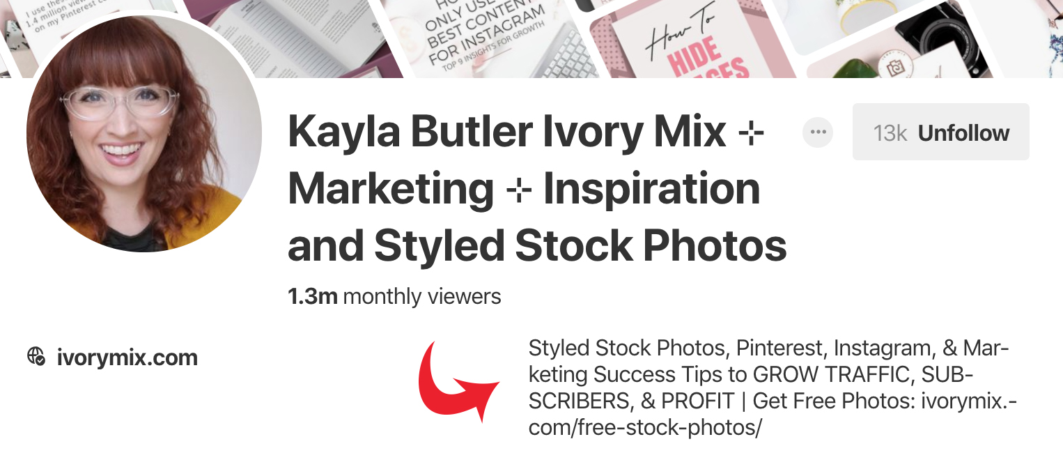 Optimize your Pinterest business account with keywords in your profile description. Sample from Ivory Mix. - Untangled Pinterest Marketing