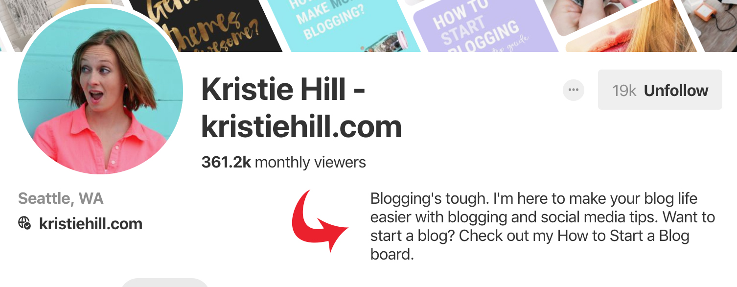 Optimize your Pinterest business account with keywords in your profile description. Sample from Kristie Hill. - Untangled Pinterest Marketing