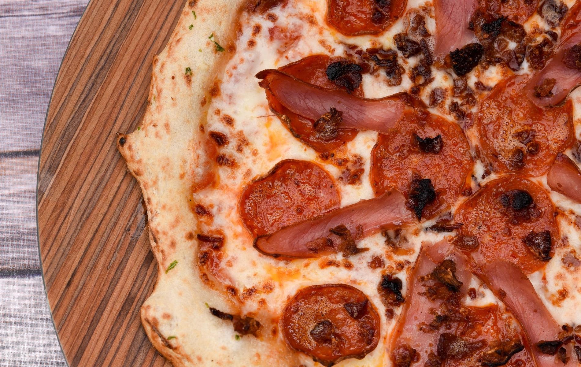 the butcher.$13/25 - RED SAUCE | BACON | PEPPERONI | PROSCIUTTO
