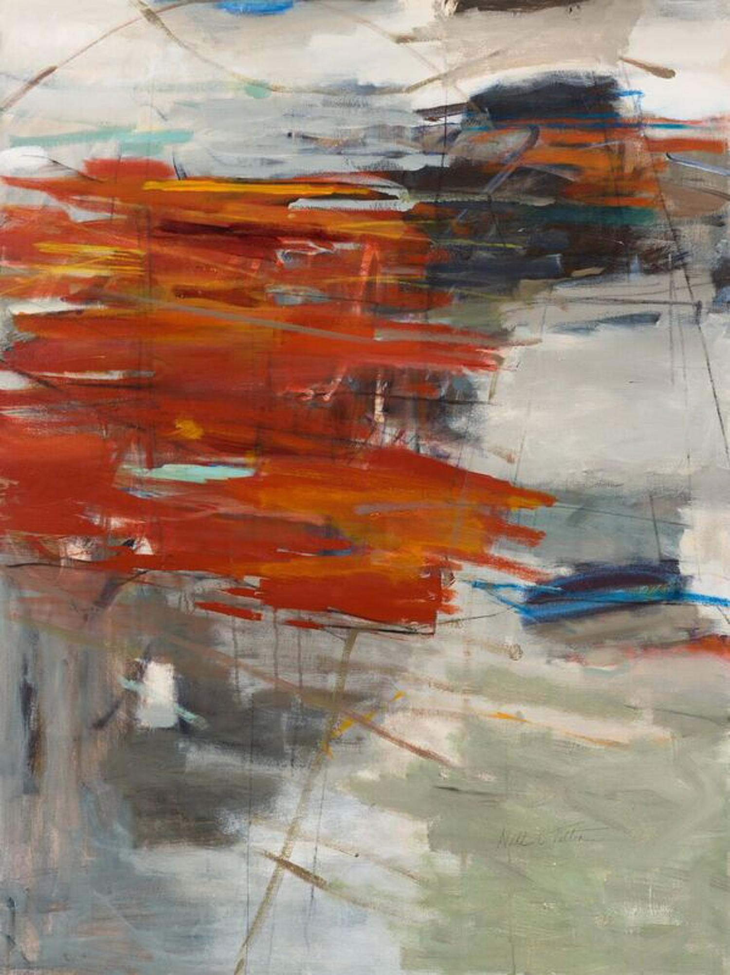 "Sold  MAKING PROGRESS 48"" x 36"" Acrylic/ Mixed Media on Canvas"