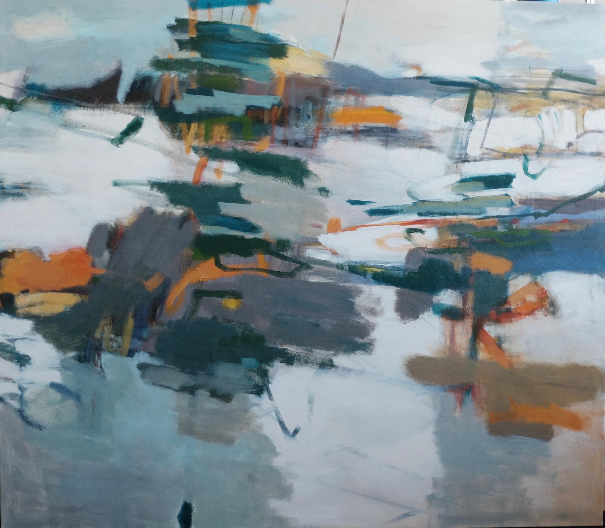 """REMINISCING 45"""" x 51.5"""" Acrylic/Mixed Media on Canvas"""