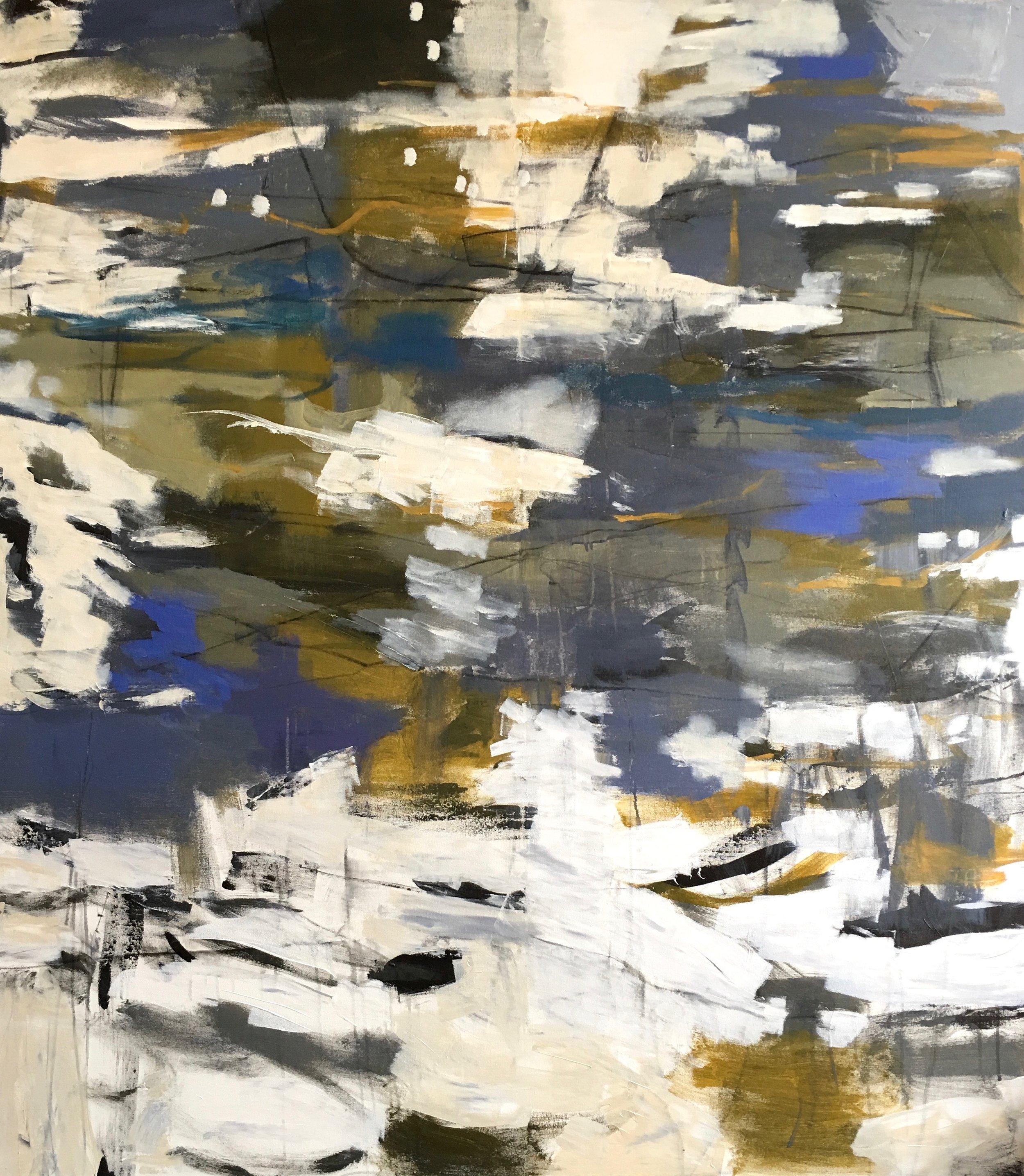 "BEACH DAY 58"" x 51"" Acrylic/Mixed Media on Canvas"