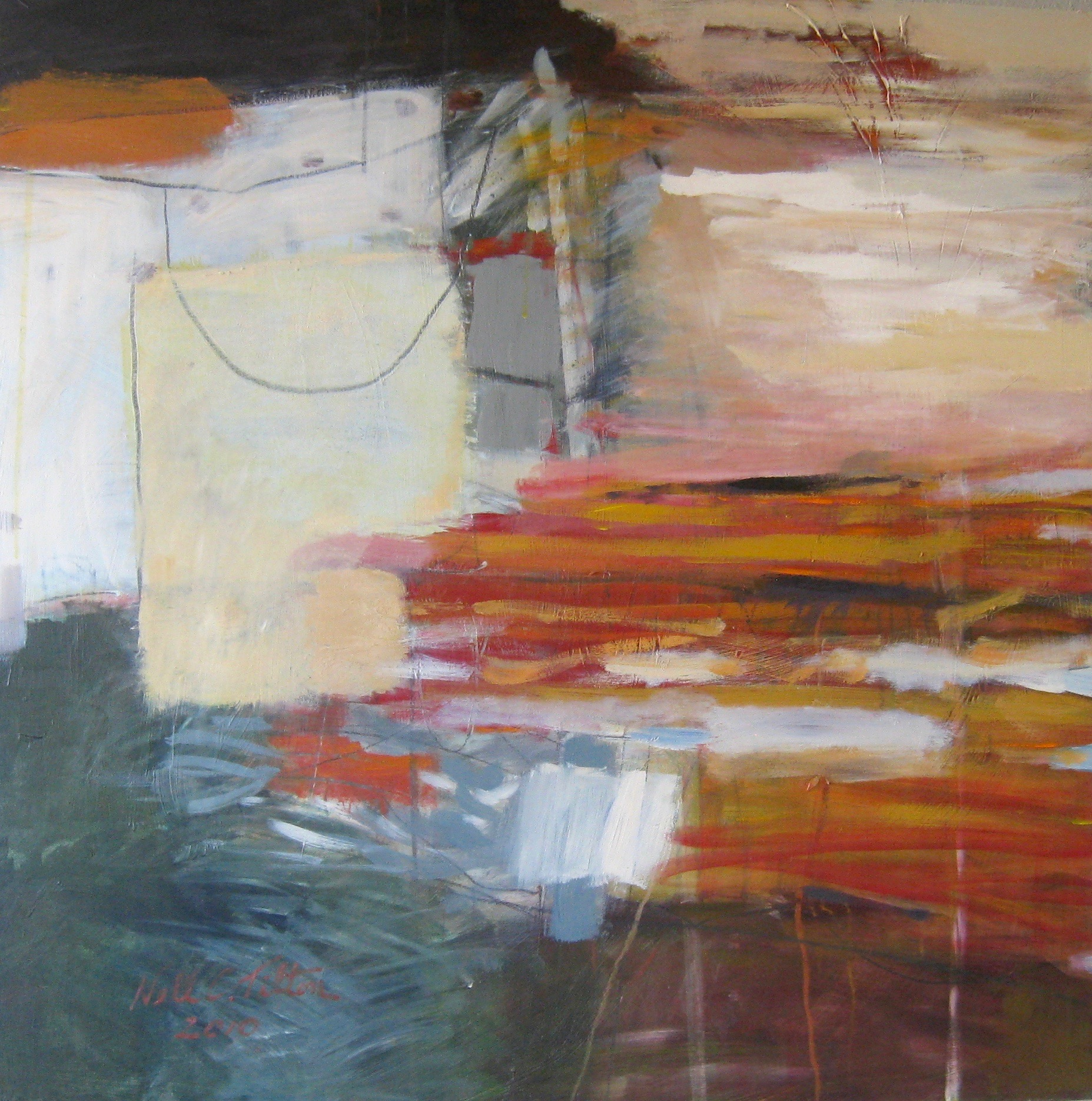 Sold ISLAND COASTLINE 30 x 30 Acrylic/Mixed Media on Board