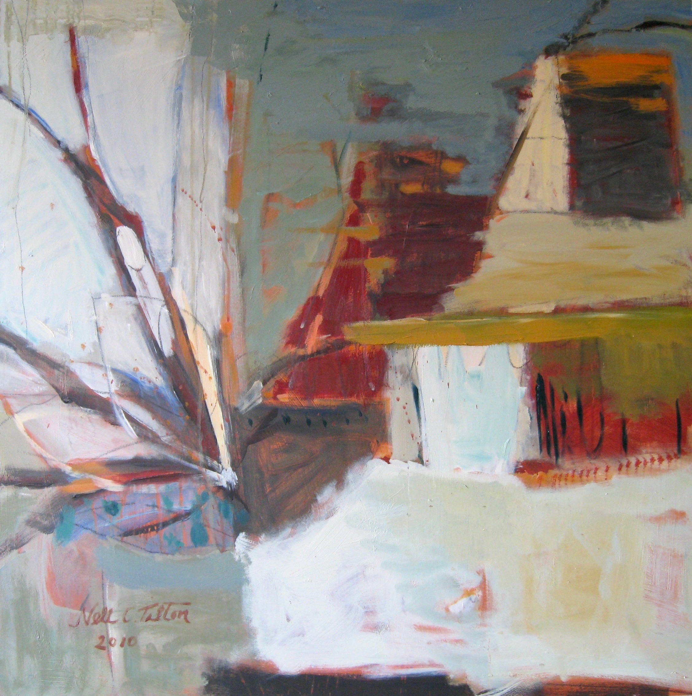 "Sold VILLAGE FLORAL 30"" x 30"" Acrylic/Mixed Media on Board"