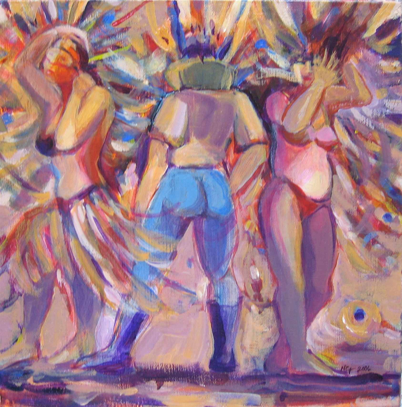 "Sold  CARNIVAL CELEBRATION 12"" x 12"" Acrylic/Mixed Media on Canvas"