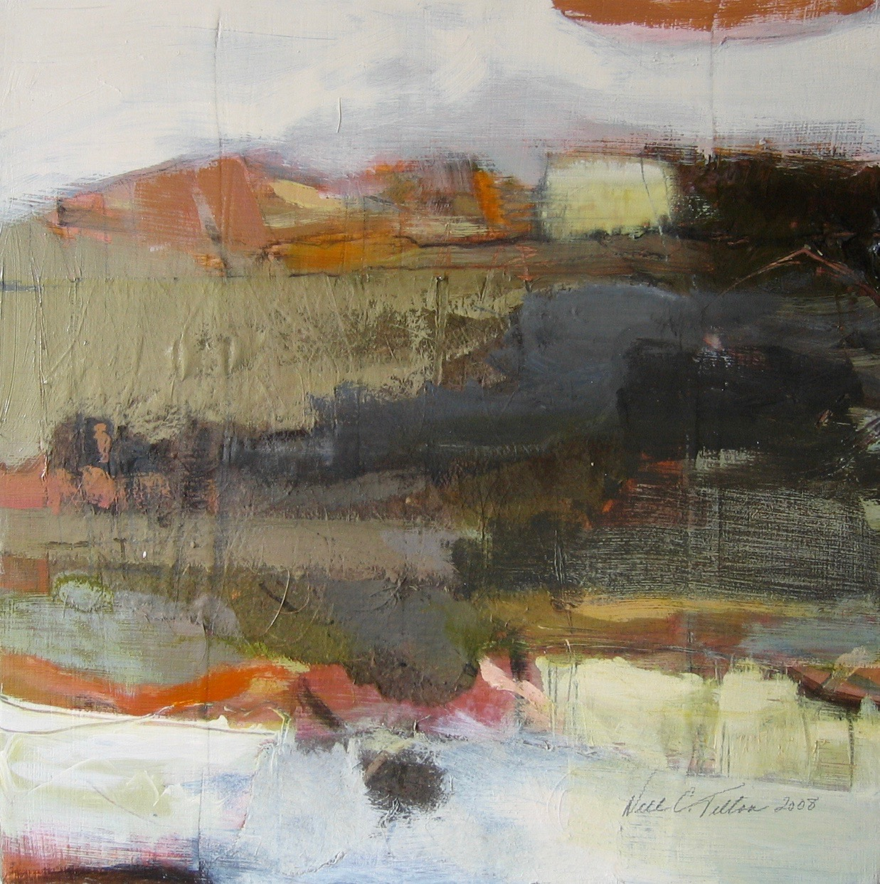 "Sold  LANDSCAPE XV 12"" x 12"" Acrylic/Mixed Media on Canvas"