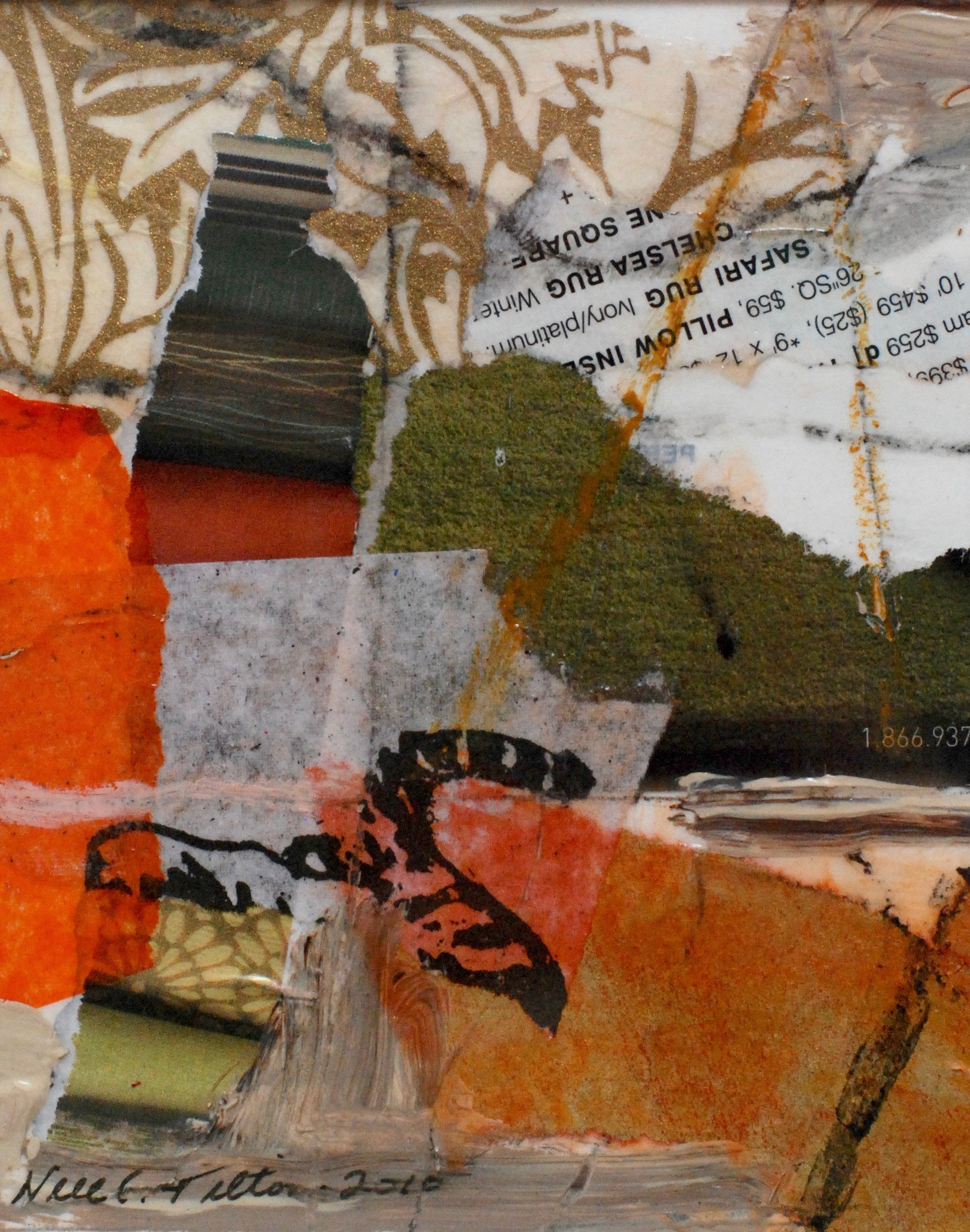 """A GOOD DISTANCE 5"""" x 4"""" Collage/Mixed Media on Paper"""
