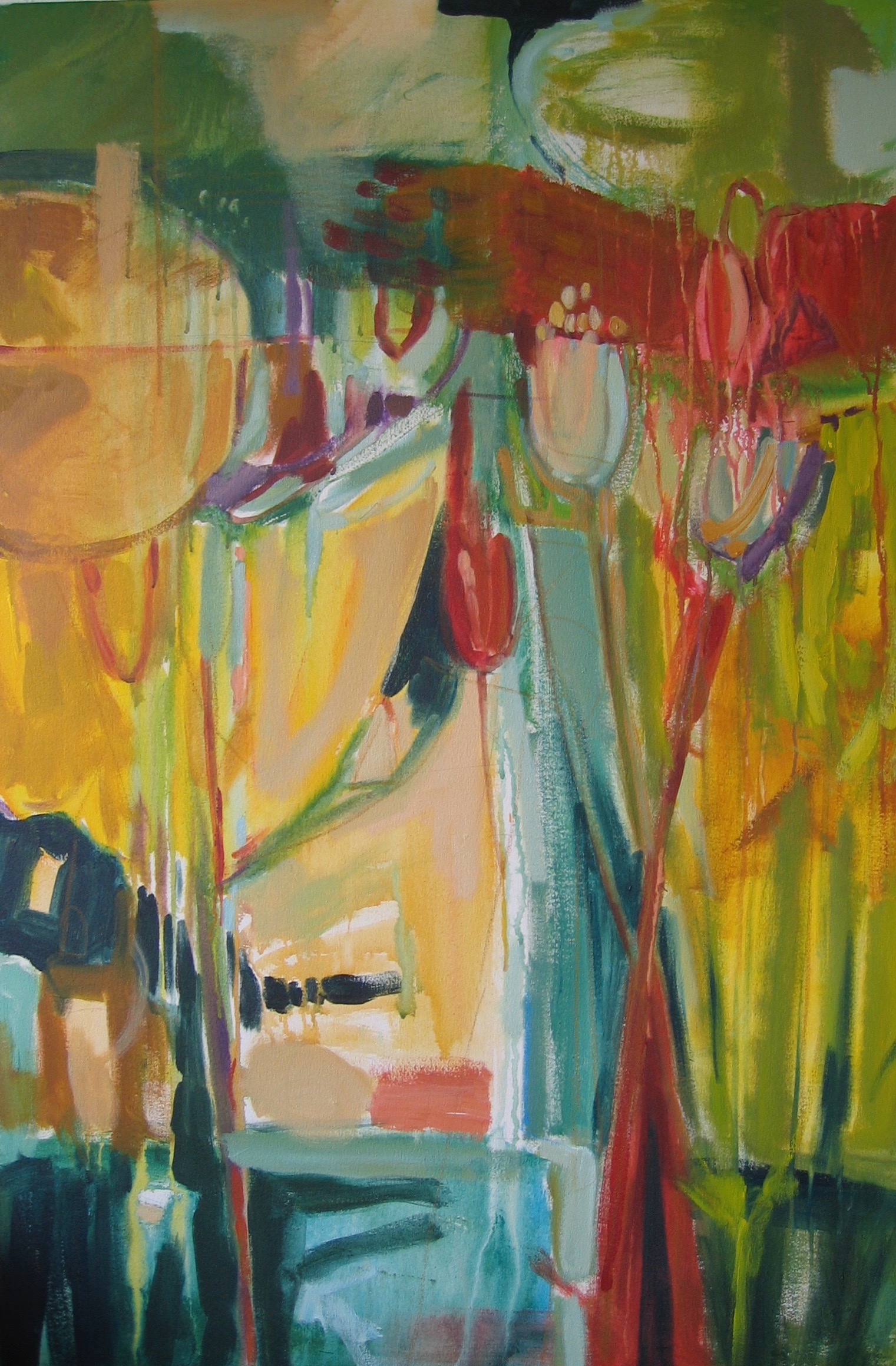"Sold  SPRING SERIES 2  48"" x 36"" Acrylic/Mixed Media on Canvas"