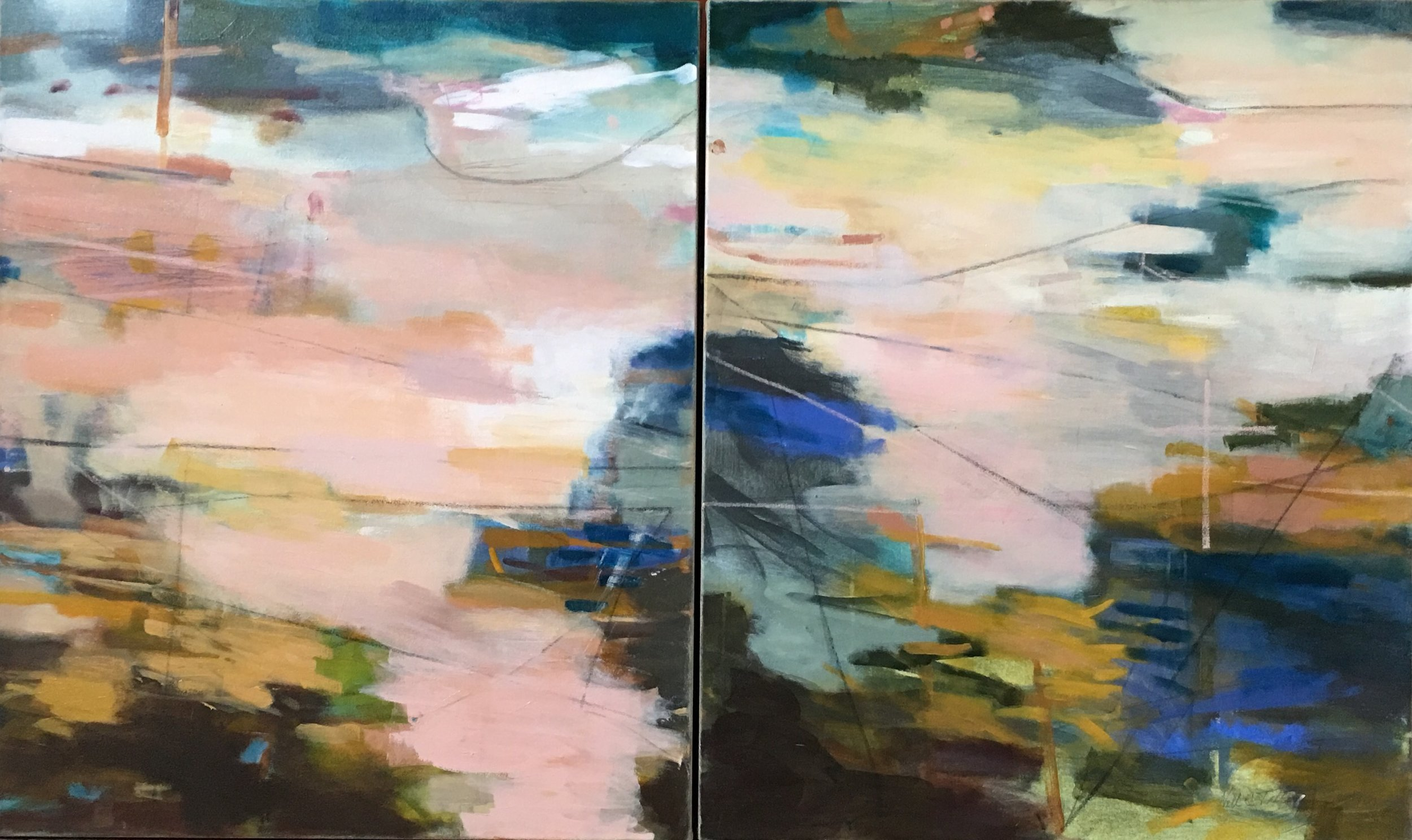 """Untitled"" Commission 36"" x 48"" (diptych) Acrylic/Mixed Media on Canvas"