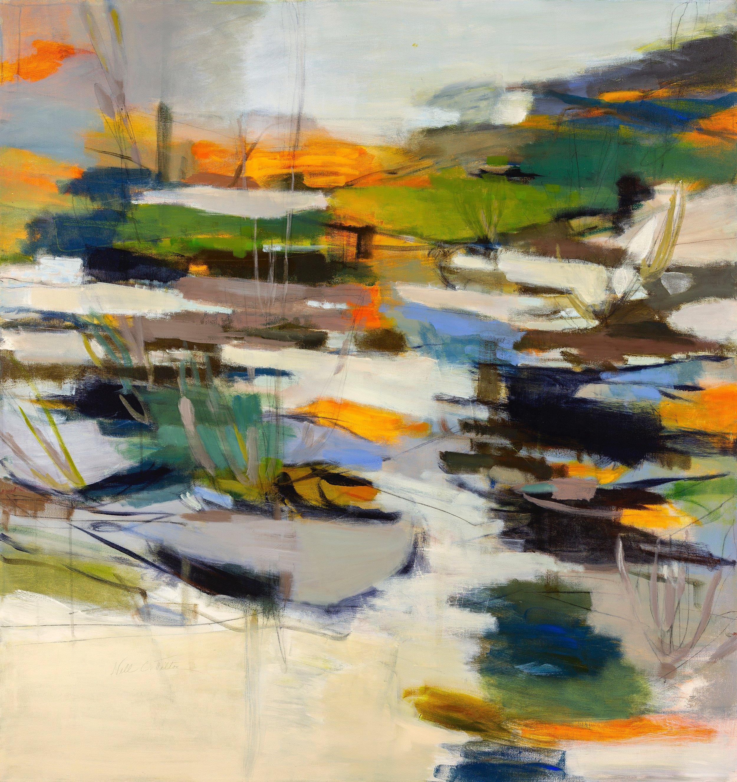 Sold  RHYTHMIC MARSHLAND  52 x 49 Acrylic/Mixed Media on Canvas