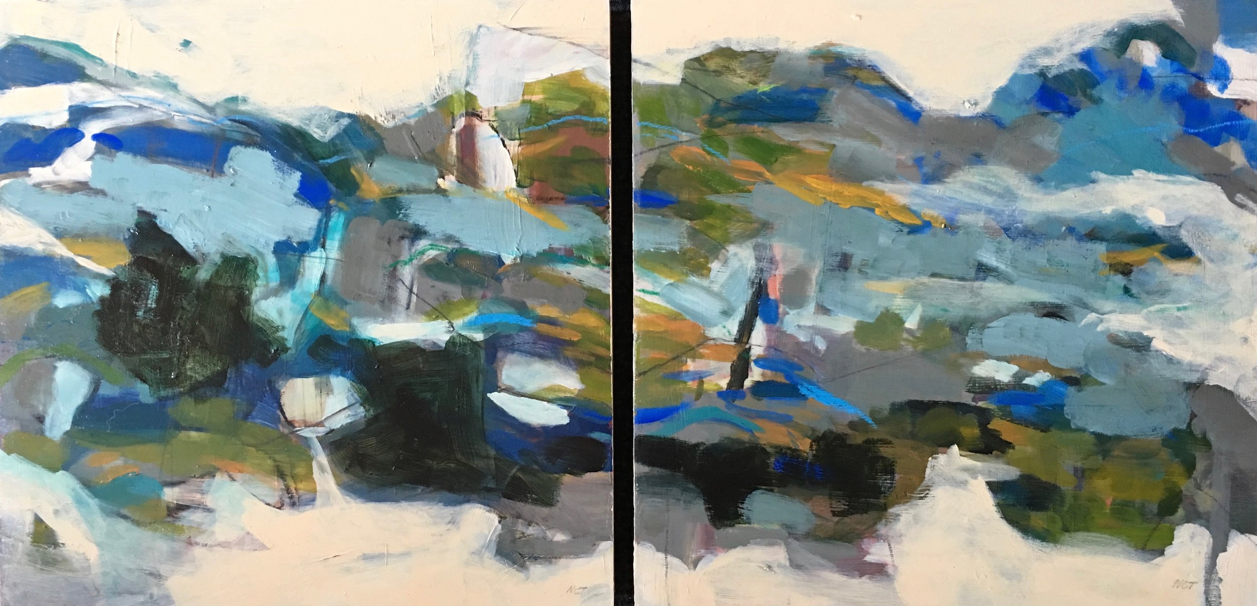 Sold LAND FORMS  16 x 32 Diptych/Acrylic/Mixed Media on Panel