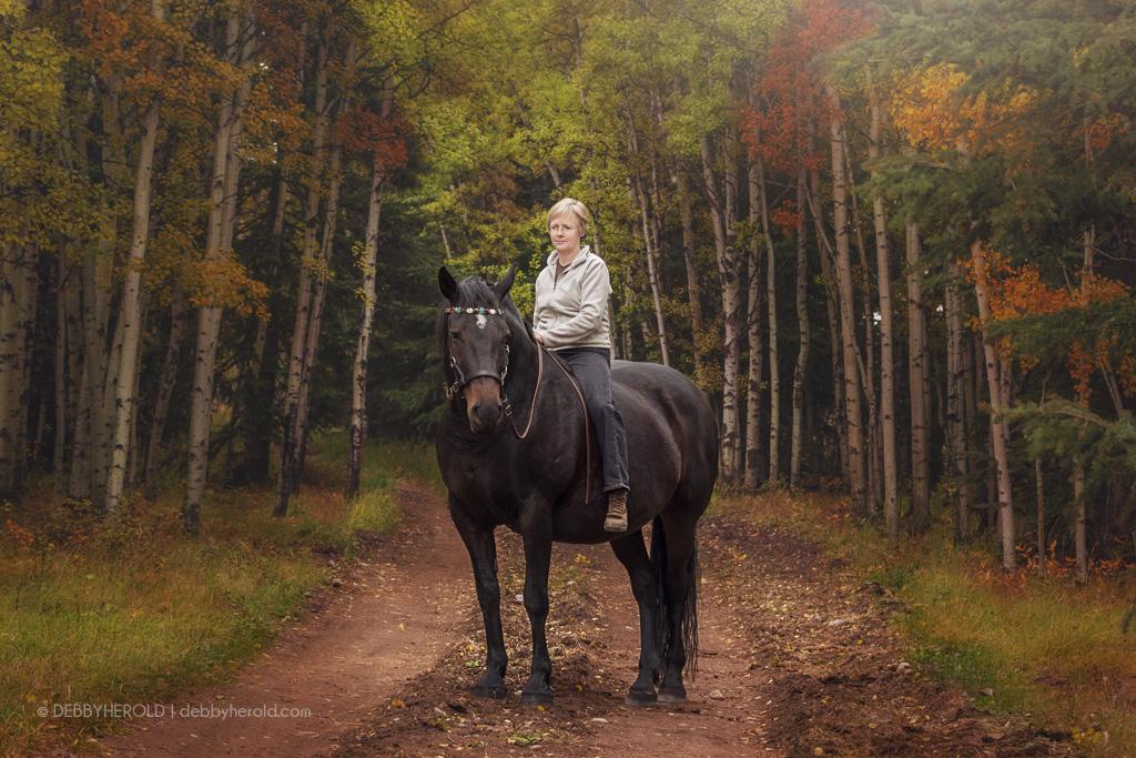 Portrait with Percheron Mix horse