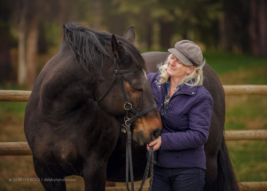 Linda Finstat with Percheron cross horse named Alaska