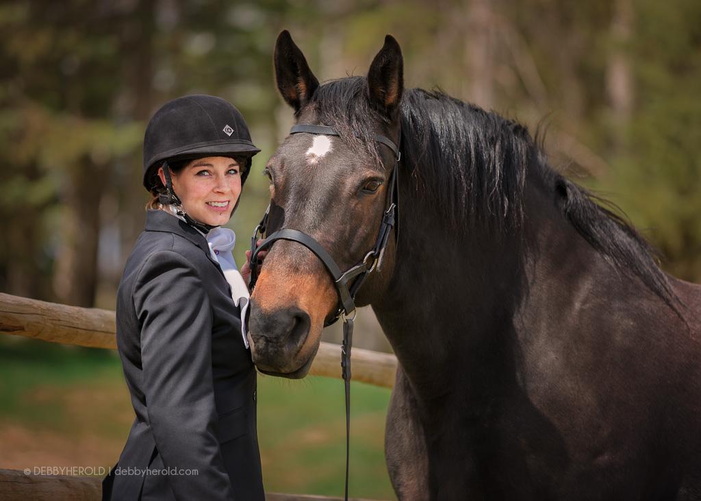 Show jumping portrait with Percheron cross horse named Alaska