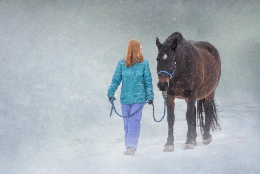 Portrait of girl walking horse in winter