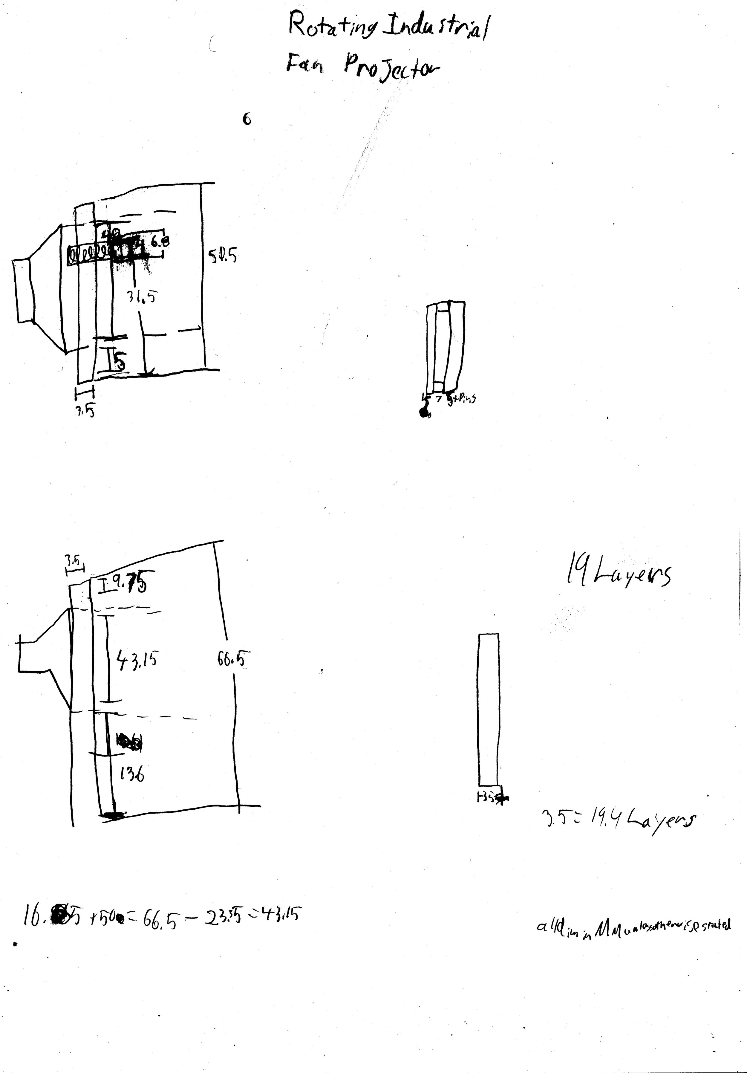 A sketch of the Rotating Industrial Fan Projector Prop for Juice.