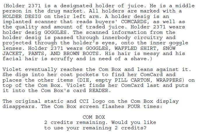 Excerpt #3 from the Juice screenplay.