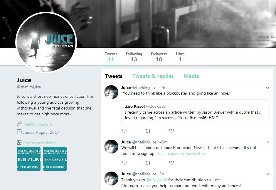A screenshot of the Juice Twitter page.