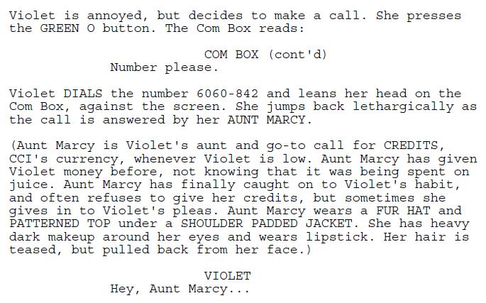 Excerpt #4 from the Juice screenplay.