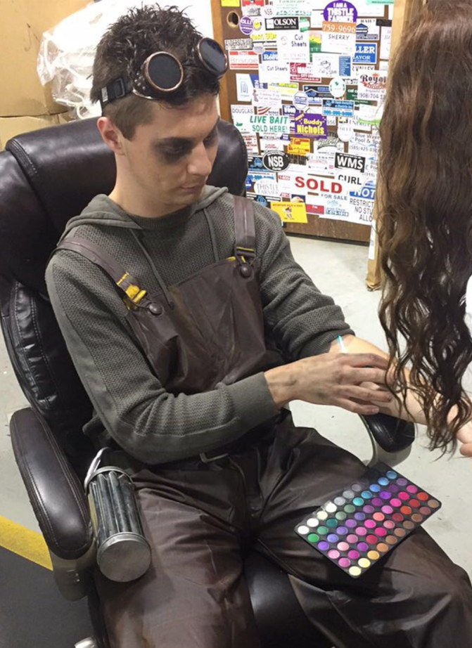 Anthony Piccuito in the makeup chair, as he prepares for his role as Holder 2371.)