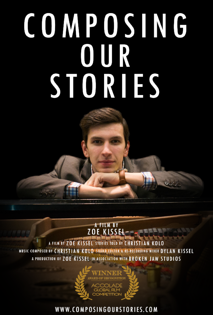 The official poster for Composing Our Stories with the awarded Accolade Global Film Competition laurels.