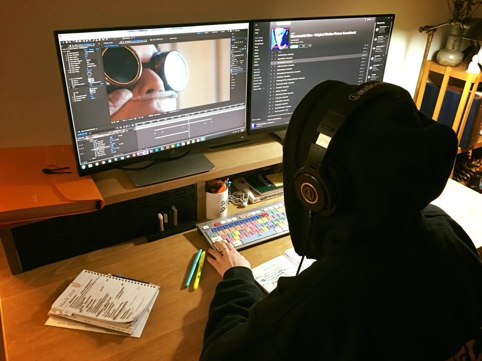 Zoë in the edit bay, working on  Juice 's visual effects.