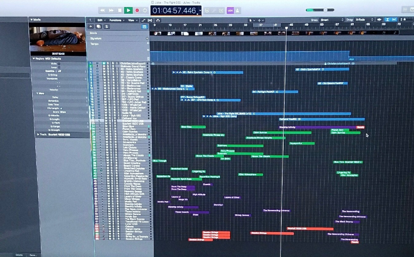A screenshot of Christian's individually recorded instrument tracks.