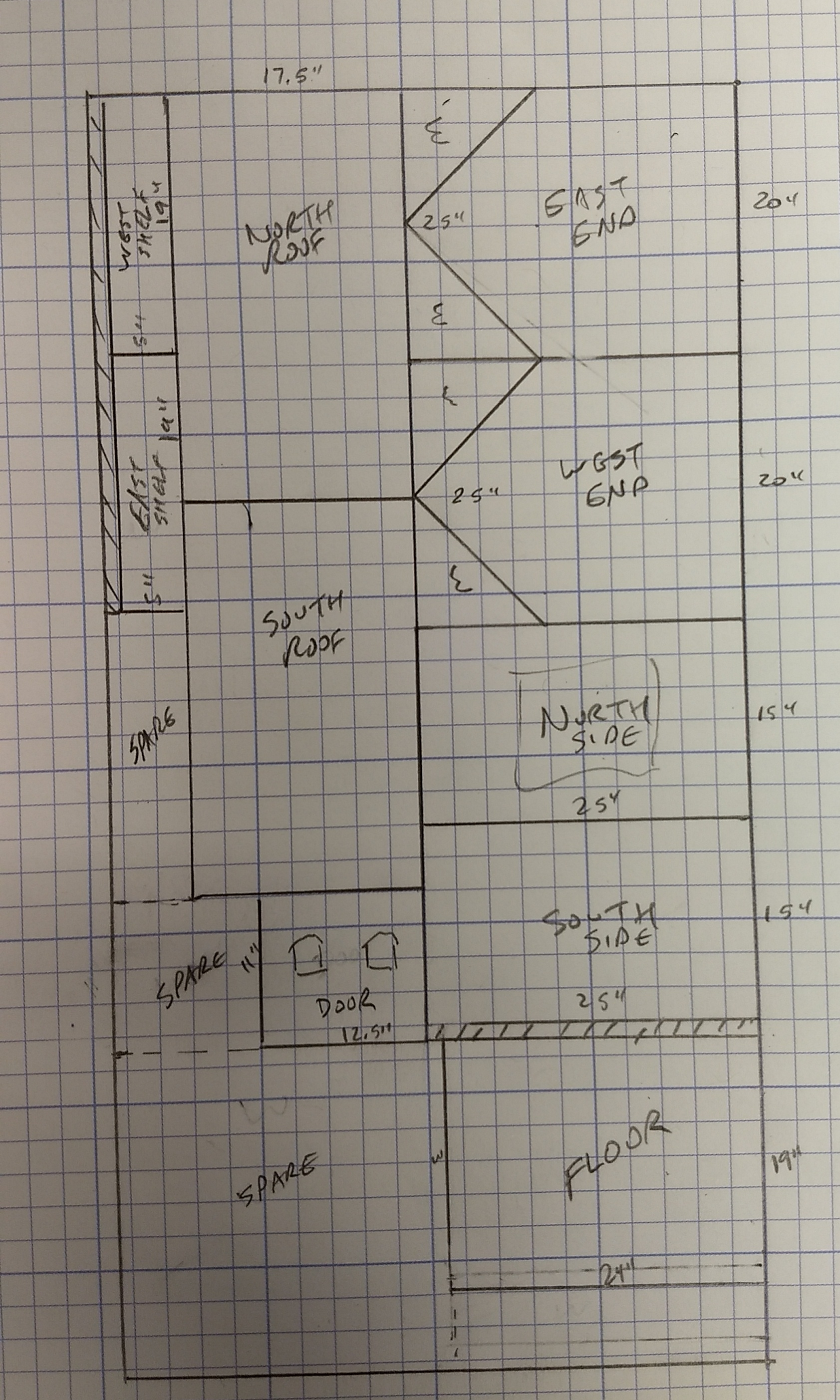 A preliminary sketch of layout for cutting components from a single 4' x 8' piece of plywood.